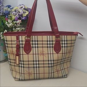Burberry Vintage Large Leather Tote Bag.